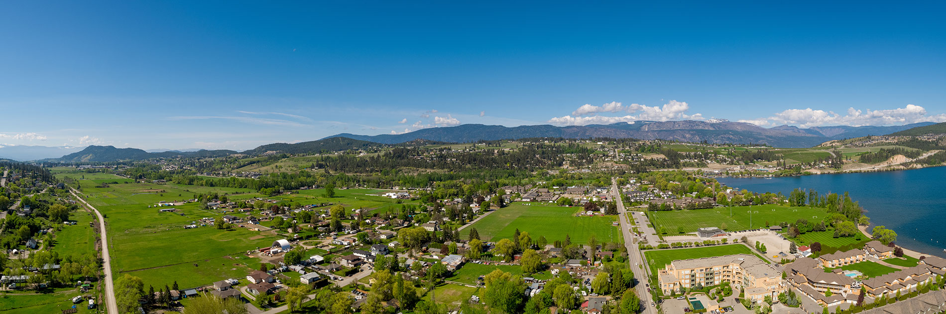 The Dale Trailside Commons in Lake Country panorama aerial shot
