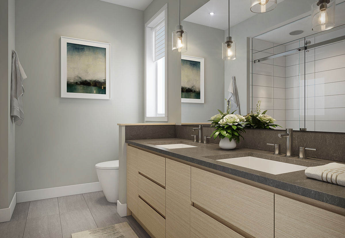 Townhome 2A Bathroom Rendering at The Dale Trailside Commons