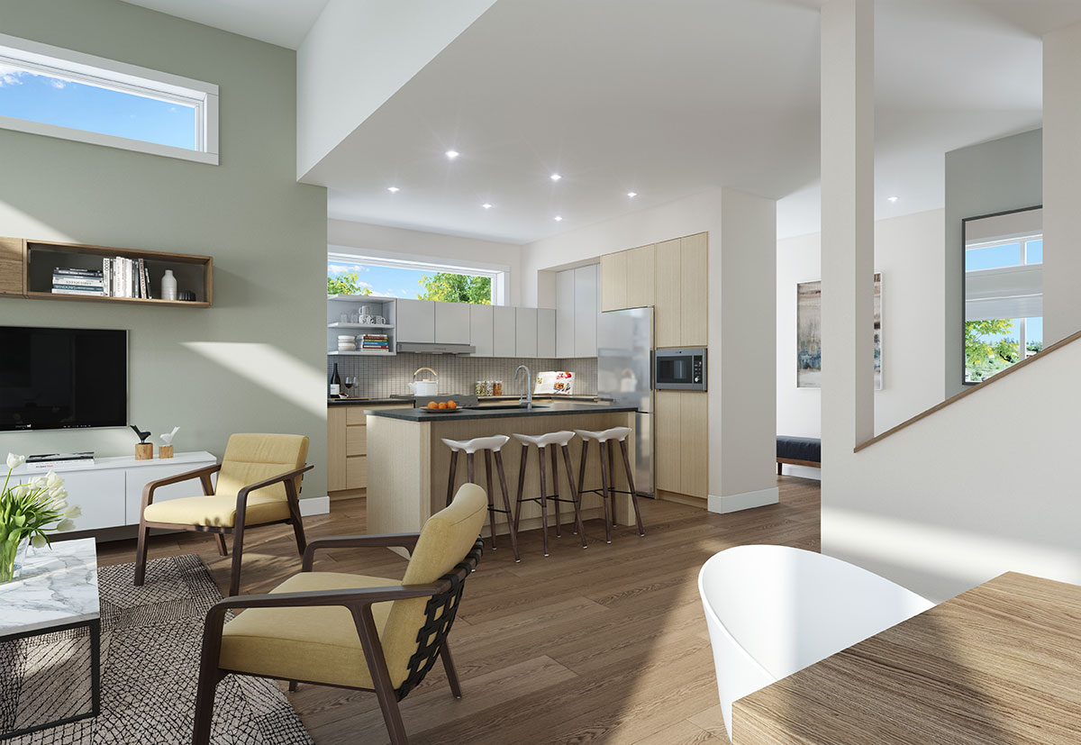 Townhome 2A Kitchen Rendering at The Dale Trailside Commons