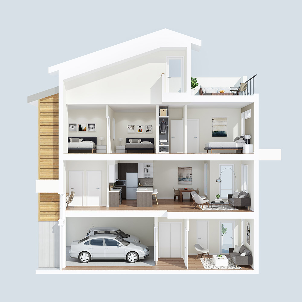 The Dale Townhome 1A Dollhouse / 3D Rendering