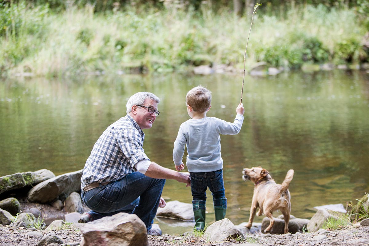 Grandfather and Grandson at the Lake near The Dale